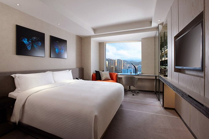 Superior/Deluxe room. Mine was facing Zhongxiao East Road, while some rooms offer a view of Taipei 101. Image credit: Humble House Taipei