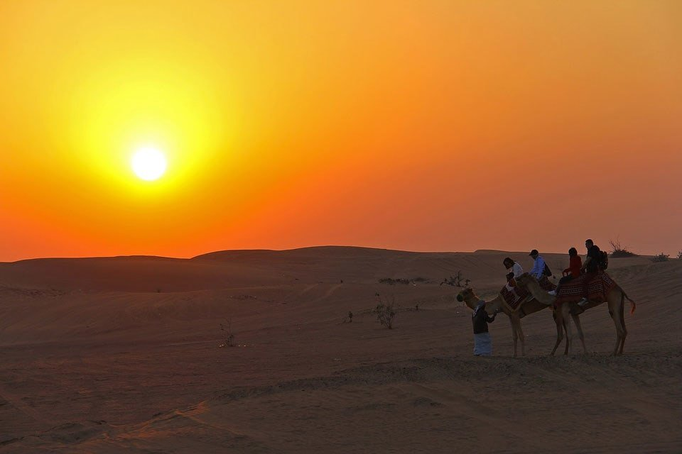 Riding a camel into the sunset during a Dubai desert safari.