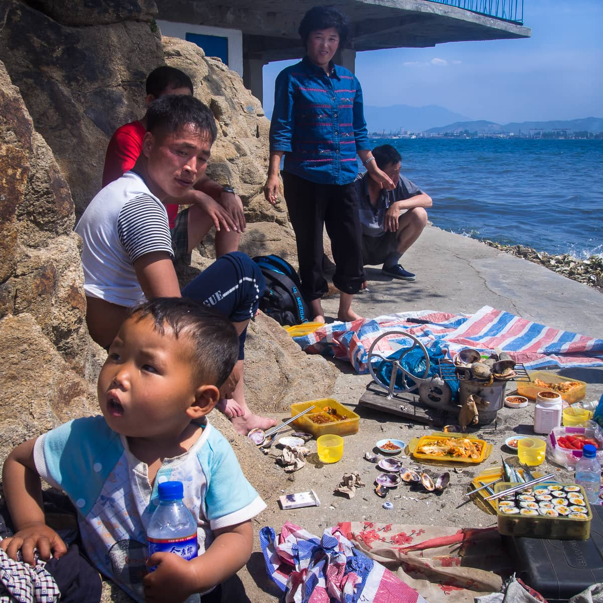 A North Korean family picnicking.
