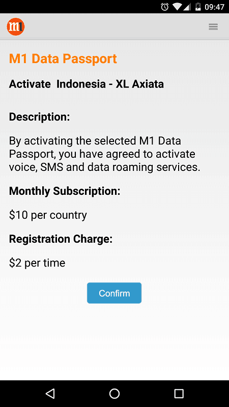 MyM1 Data Passport Activation