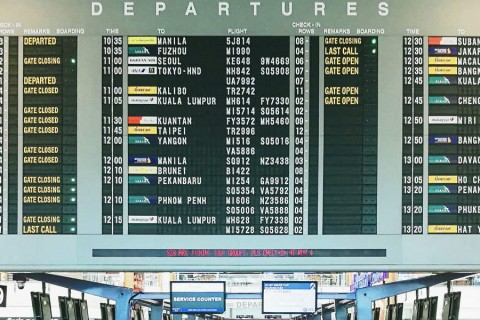 Changi Airport Singapore T2. Departures board