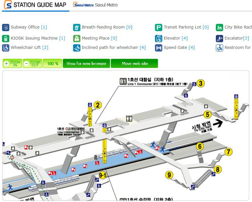 Example of Seoul subway station guide map