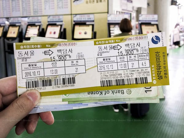Hiking Seoraksan: my bus Ticket to Baekdamsa