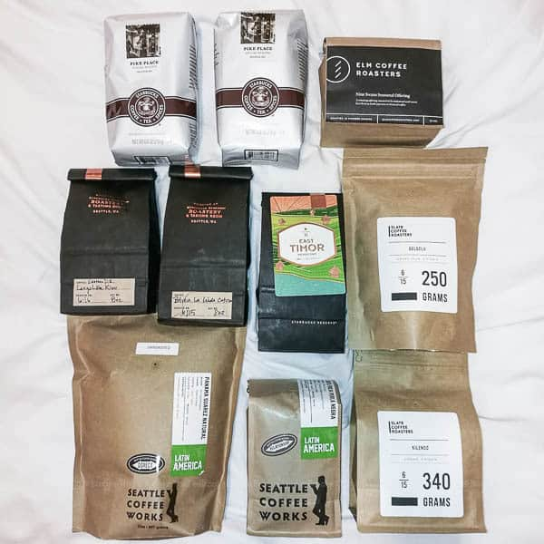 Our haul of beans from Seattle's best coffee places
