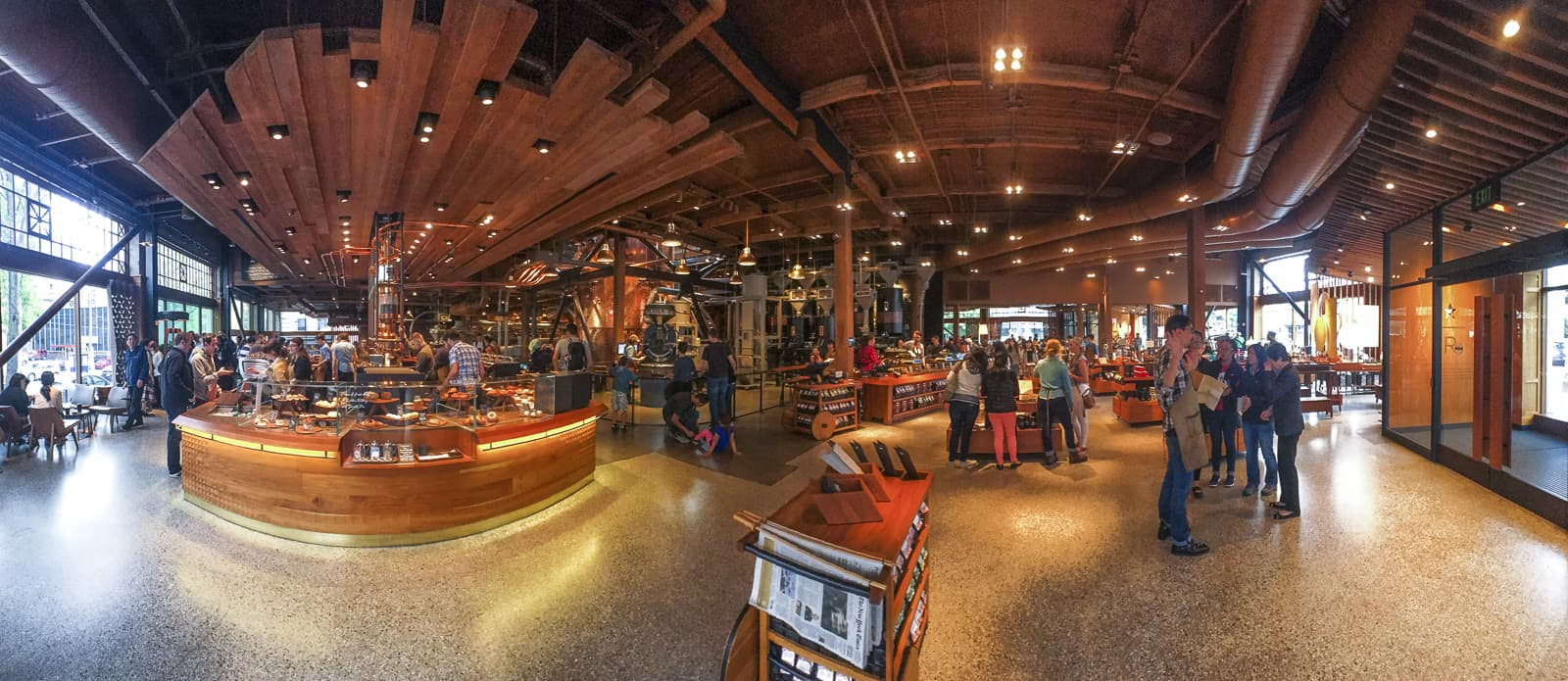 Panorama of Starbucks Reserve Roastery in Seattle. Photo: James Tan