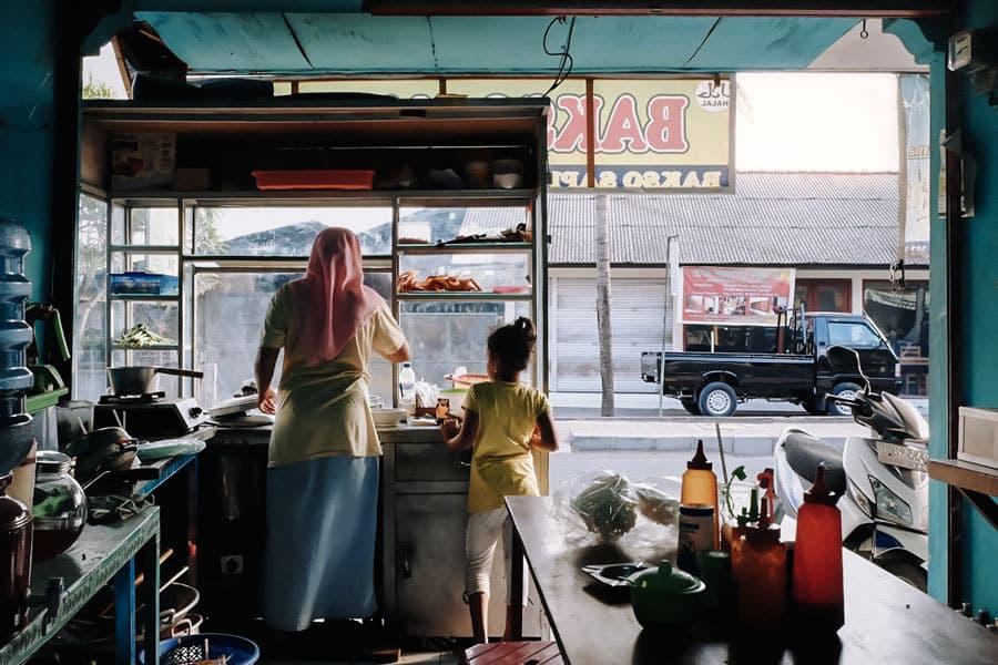 Having mie bakso at a local food warung in Bali