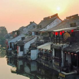 Sunrise in Xitang Water Town, Zhejiang, China