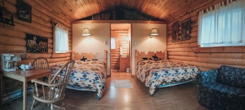 Inside our log cabin at Lone Pine Ranch