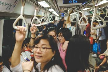 Getting around Singapore: MRT subway train