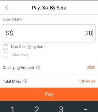 Mileslife app: payment screen