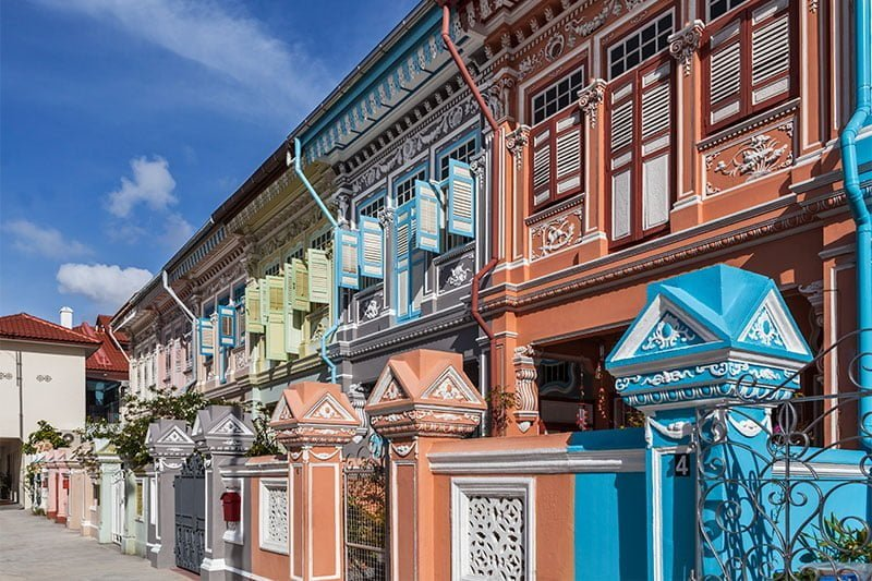 Colorful Peranakan shophouses in Joo Chiat, Singapore