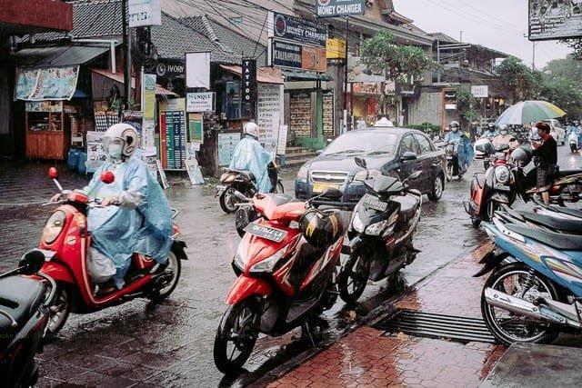 Rainy day traffic in Ubud, Bali