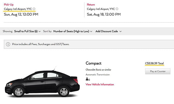 Avis car rental fee from Calgary Airport