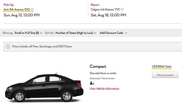 Avis car rental fee from downtown Calgary
