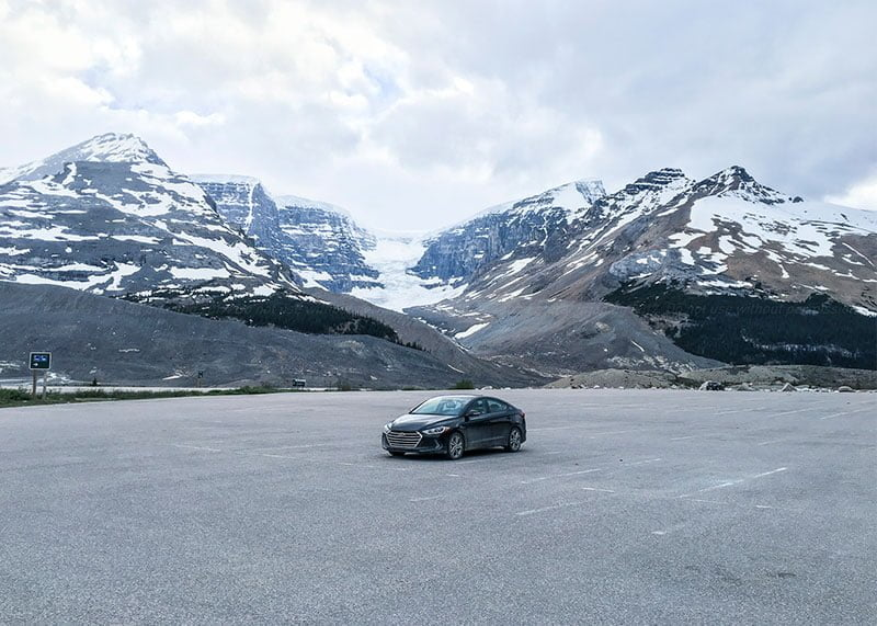 Last car in the parking lot at Columbia Icefield Discovery Centre. Photo: James Tan