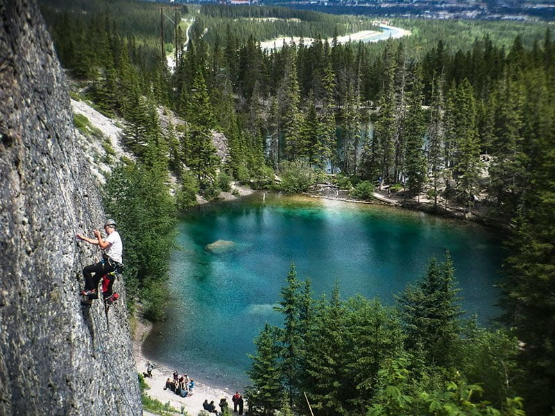 Rock climber at Grassi Lakes. Photo: James Tan