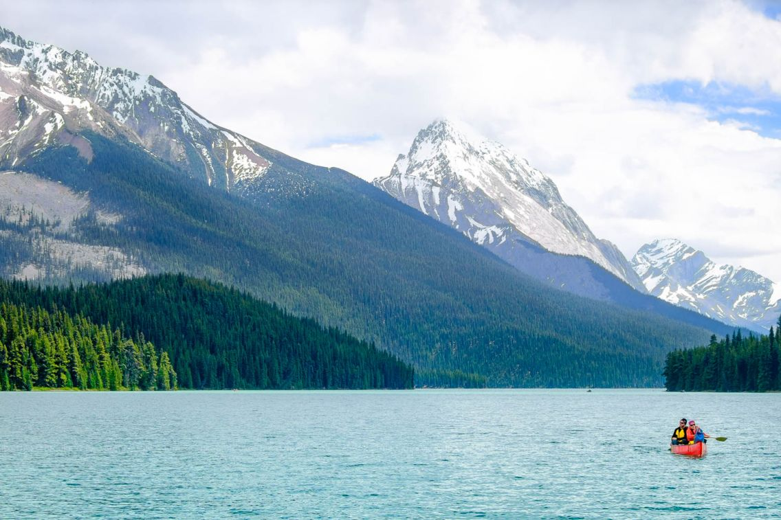 Kayaking at Maligne Lake. Jasper National Park, Canada