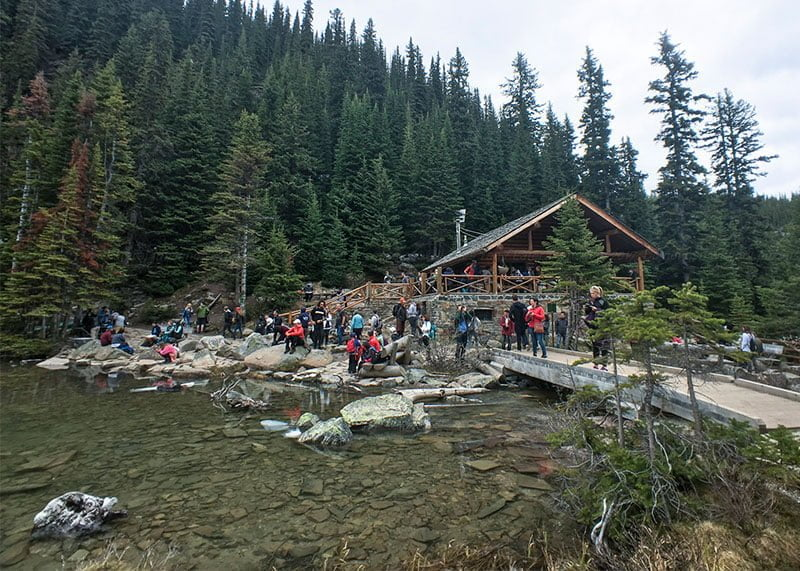 Hikers at Lake Agnes Tea House. Photo: James Tan