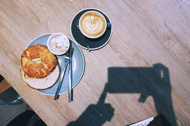 Bagel and coffee at Dutch Colony Coffee Singapore