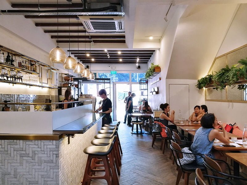 Interior of Bearded Bella cafe in Singapore