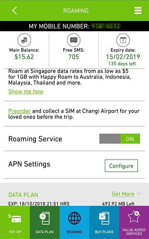 StarHub Happy Prepaid app screen