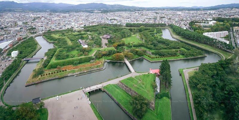 Goryokaku Park viewed from Goryokaku Tower. Hakodate, Hokkaido