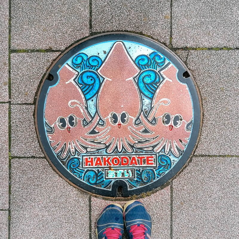 Hakodate manhole cover, squid