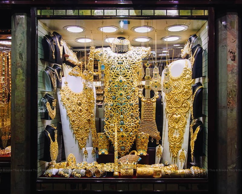 Window display of elaborate gold accessories at Dubai Gold Souk