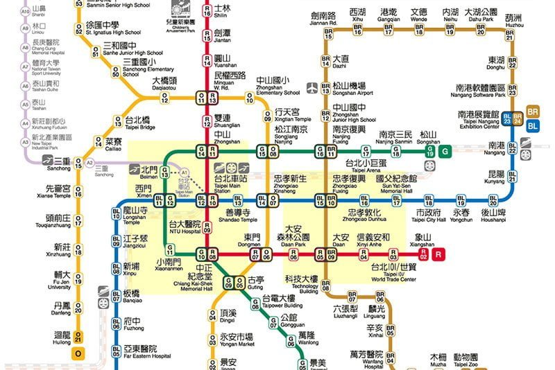 Downtown Taipei MRT map + areas to stay