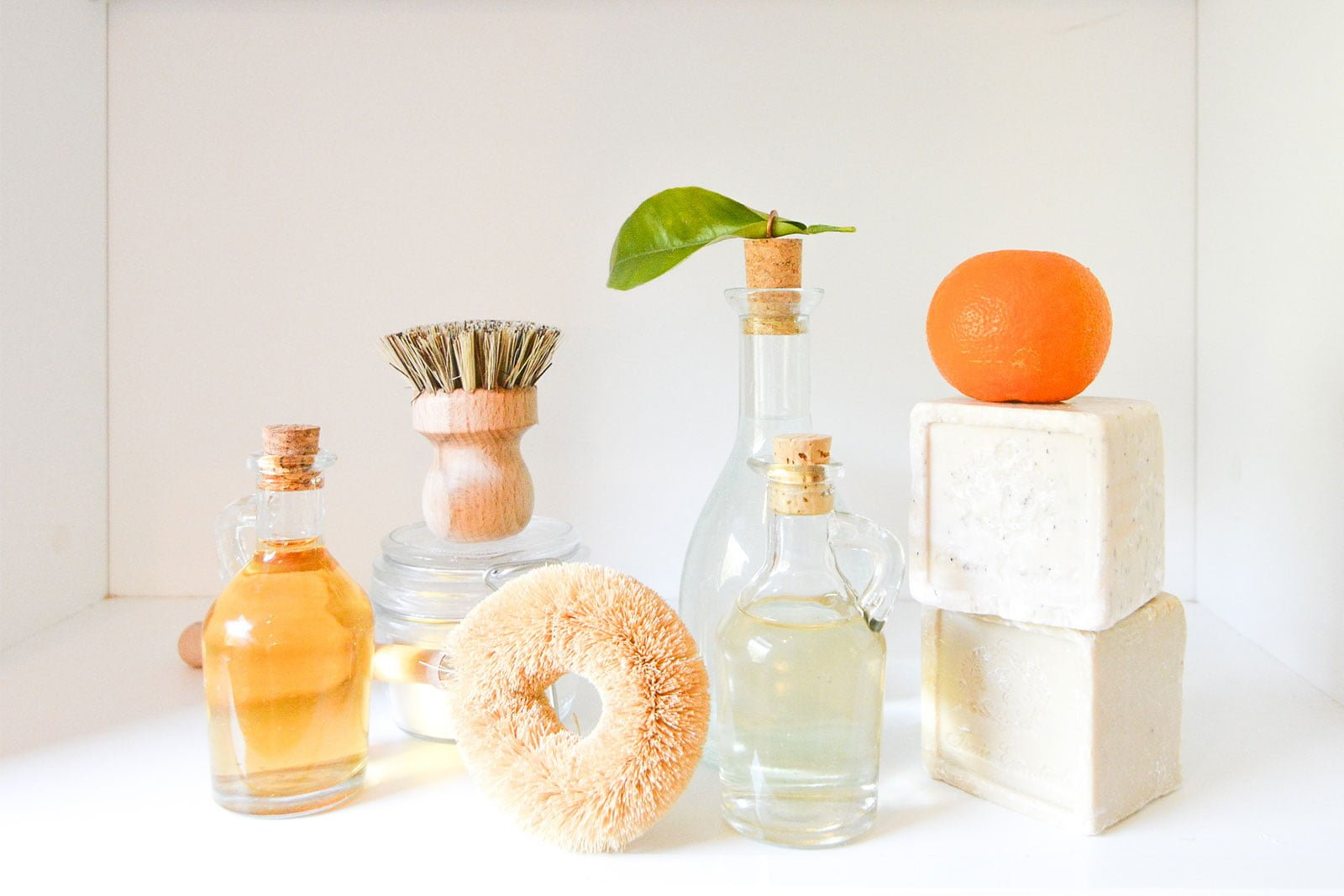 Soap and beauty products on a counter