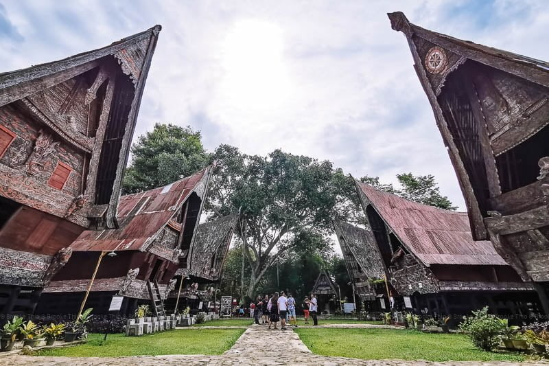 Six traditional Toba Batak houses, some over 120 years old