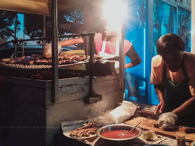 A nighttime mutura stall in Kenya