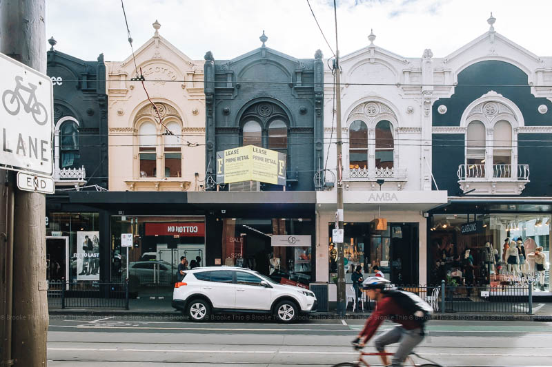 Buildings along Chapel Street in Melbourne