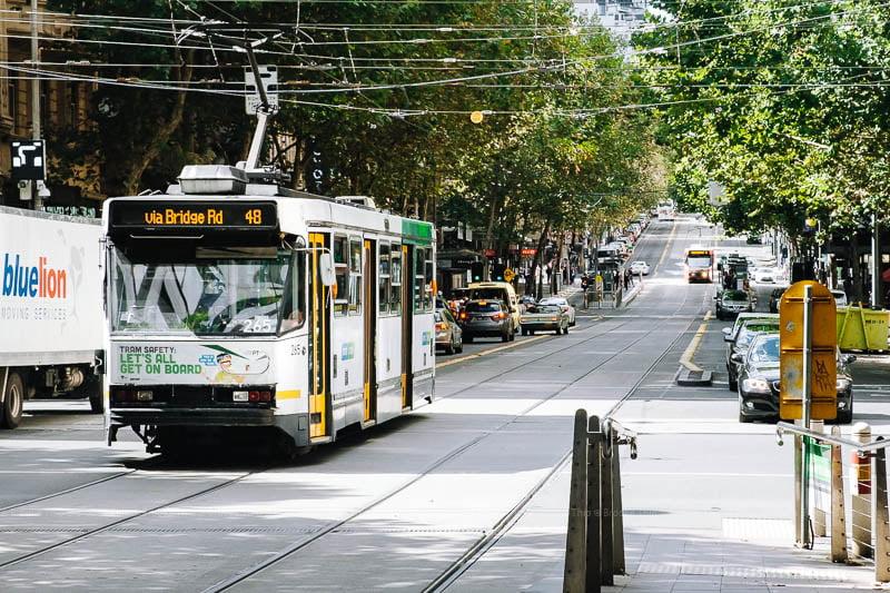Tram on road, Melbourne